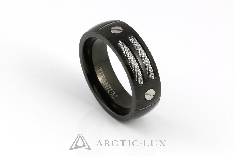 Steel Cable Black - Titaanisormus
